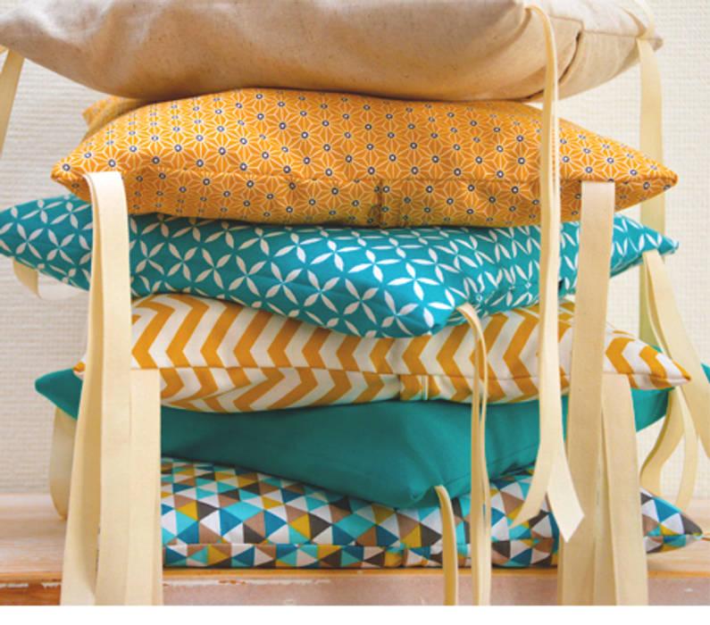 Tour de lit 6 coussins déhoussables, jaune moutarde et bleu canard ...