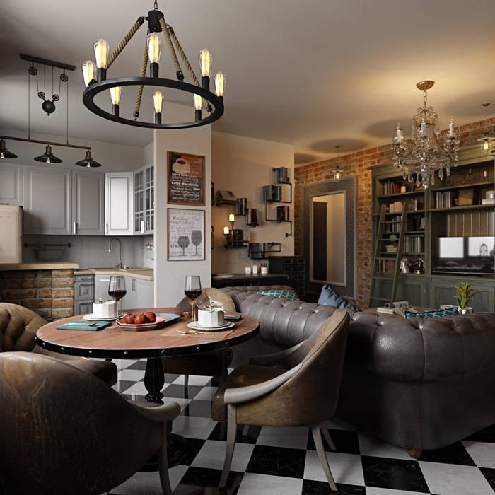 Интерьер квартиры 40 кв.м. в Мурманске Студия дизайна интерьера Маши Марченко Гостиная в классическом стиле