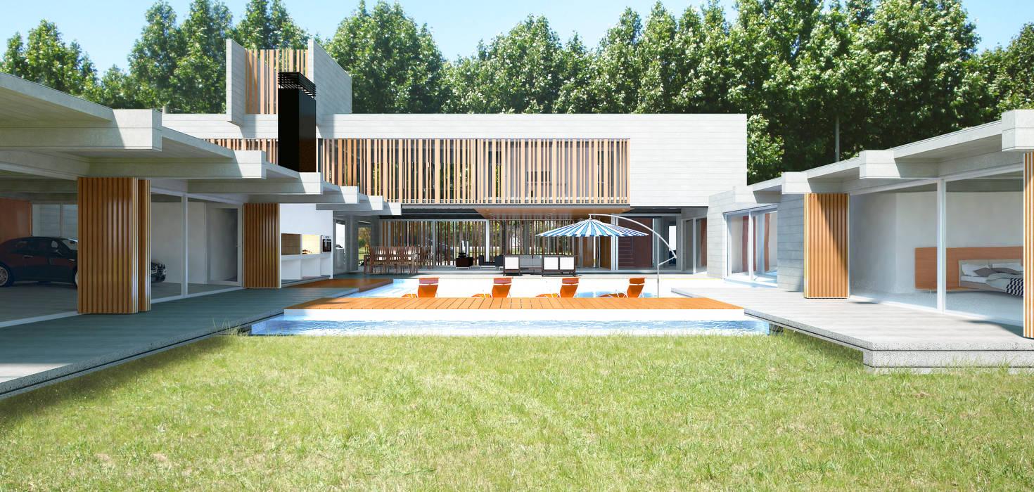 CASA DE HORMIGÓN -  Autores: Mauricio Morra Arq., Diego Figueroa Arq.: Jardines de estilo  por Mauricio Morra Arquitectos