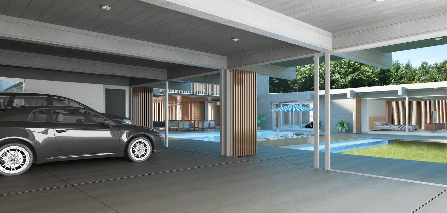 CASA DE HORMIGÓN -  Autores: Mauricio Morra Arq., Diego Figueroa Arq.: Garajes de estilo moderno por Mauricio Morra Arquitectos