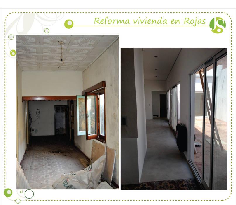 Antes y despues: Pasillos y recibidores de estilo  por Jimena Serradell,Colonial