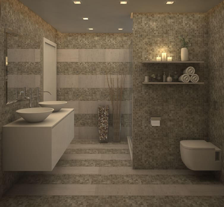 Baño Habitación Principal. Baños de estilo moderno de Gabriela Afonso Moderno Azulejos