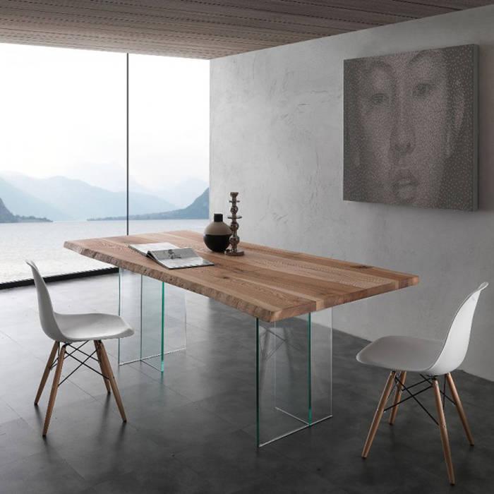 Tavolo da pranzo in legno massello e vetro marlon: sala da pranzo in ...
