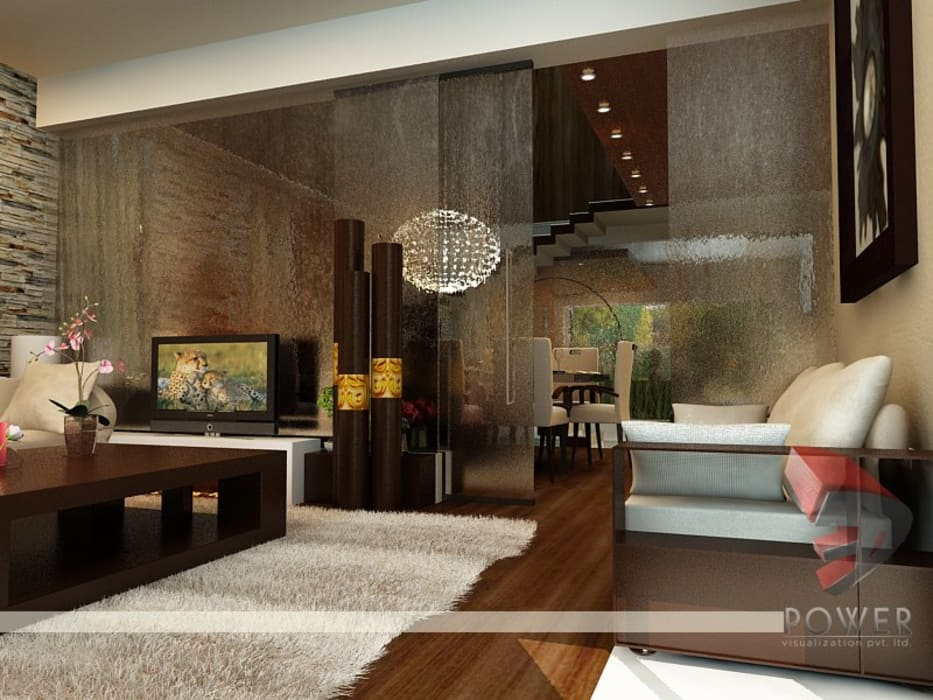 Interior project :  Living room by 3D Power Visualization Pvt. Ltd.,Modern