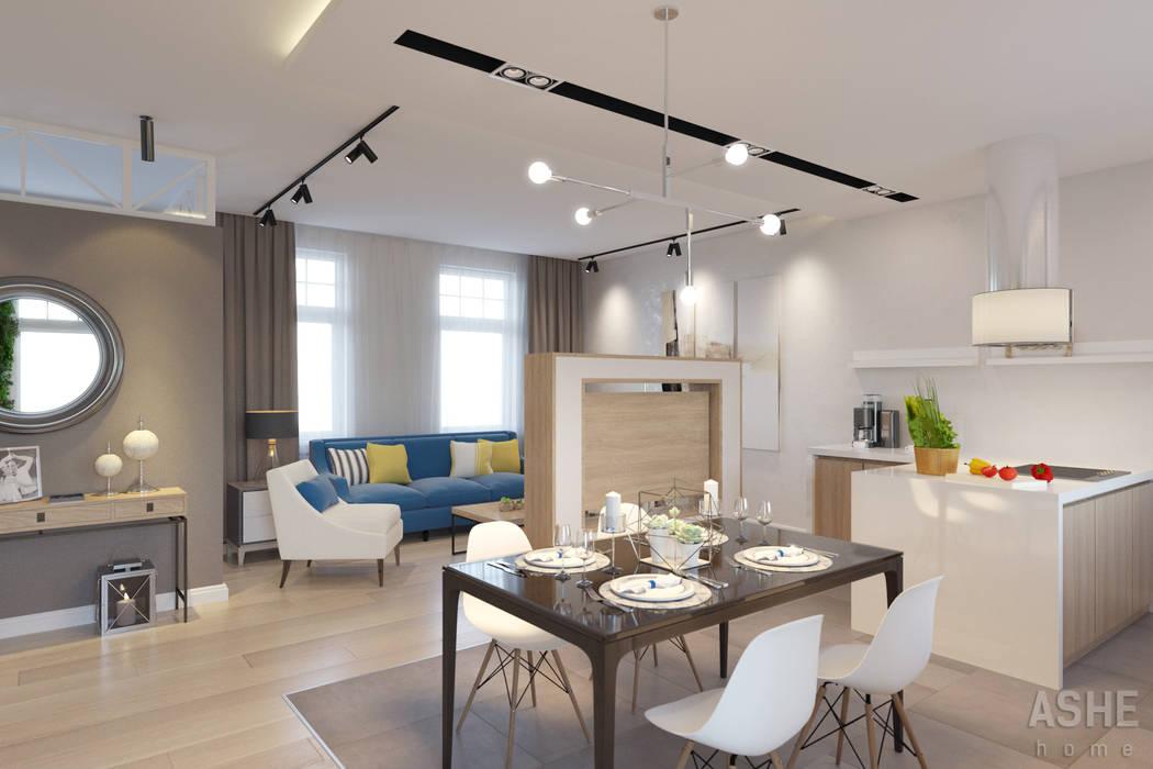 Таунхаус в Подмосковье Кухни в эклектичном стиле от Студия авторского дизайна ASHE Home Эклектичный