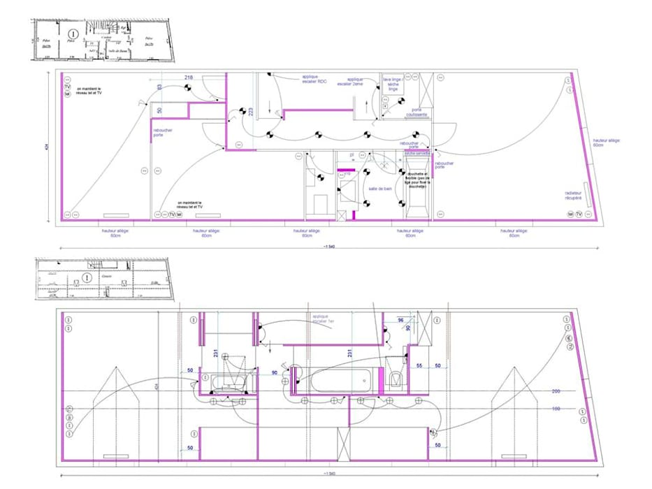 Plan du 1er et du 2e étages: Murs de style  par CAROLINE DUBAU