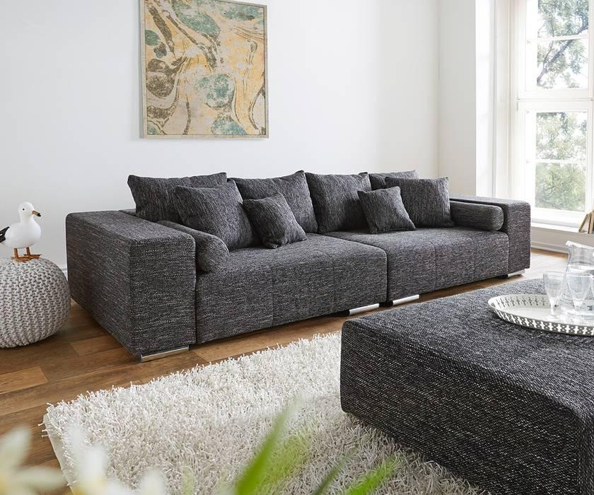 Big sofa marbeya 280x115 cm schwarz couch mit kissen