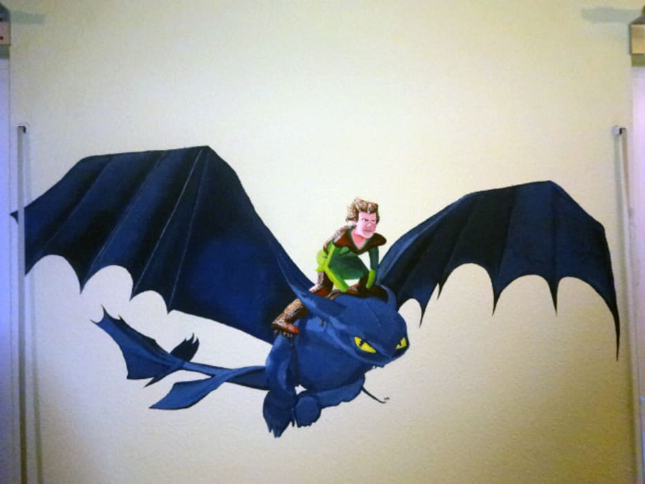 """Fresque """"Dragon"""" (cf. film d'animation """"Dragons""""), (Belrin- Lichtenberg): Ecoles de style  par Laeti-Berlin"""
