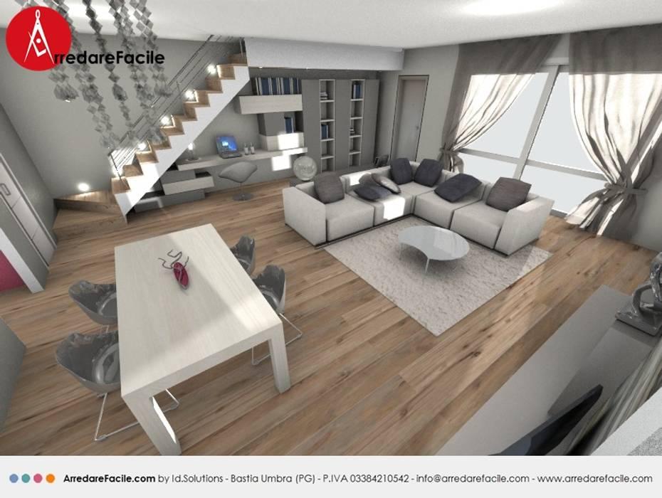 Soggiorno con scala a giorno e camino soggiorno in stile for Immagini soggiorno moderno