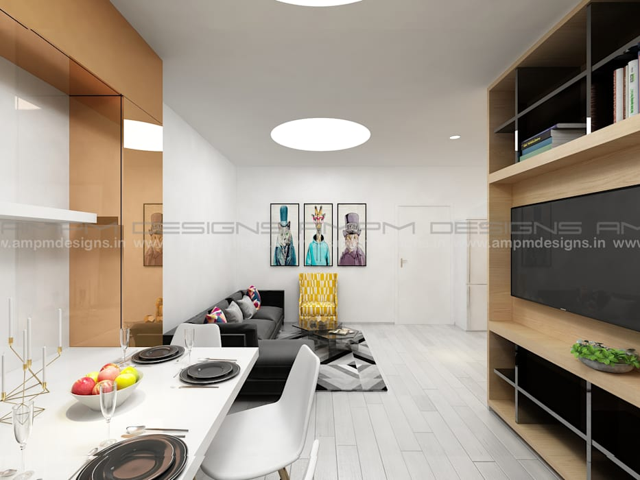 LIVING/ DINING AREA: modern Living room by AMPM DESIGNS