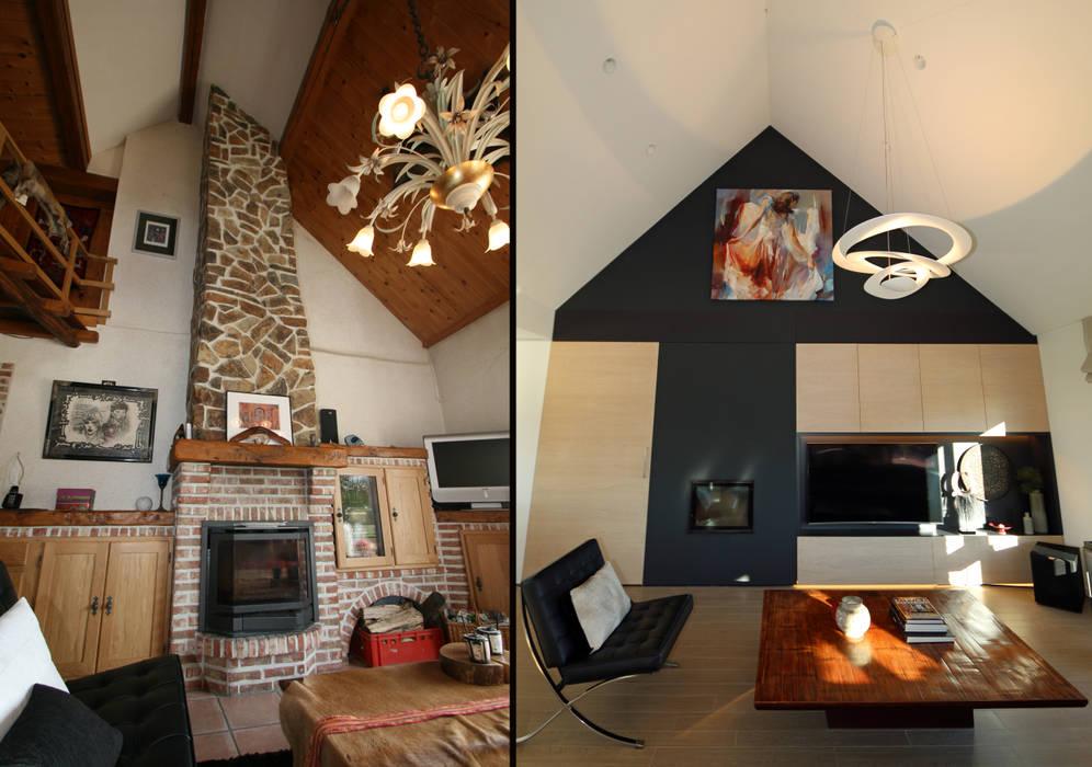 Fermette Rustique Se Transforme En Espace Contemporain: Salon De Style Par  Sfeerontwerp | Créateur D