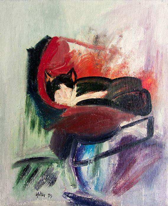 Chat sur un fauteuil: Salon de style de style Moderne par ahgraph