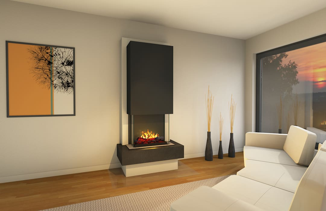 muenkel design - Elektrokamine aus Großentaft Living roomFireplaces & accessories Black