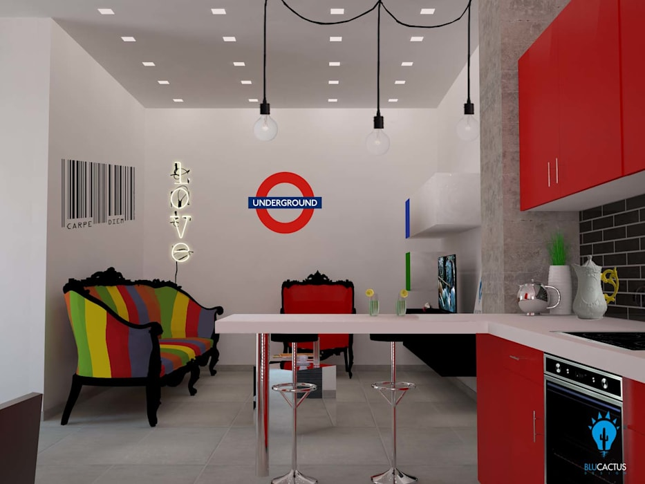 Metropolitan spaces: Soggiorno in stile in stile Eclettico di blucactus design Studio