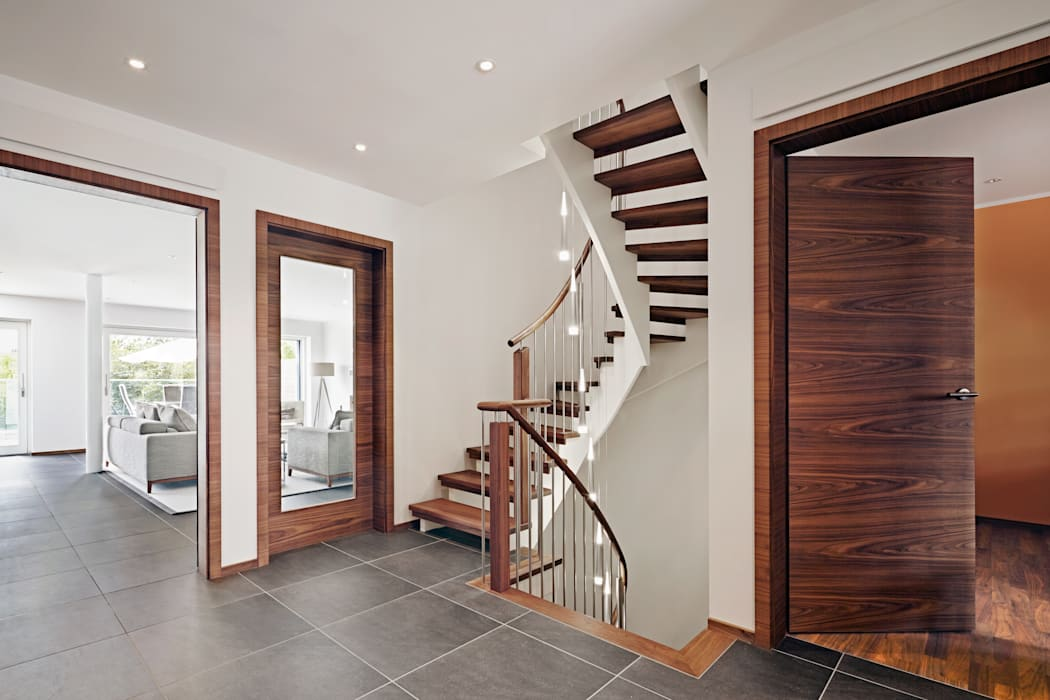 Hall Modern corridor, hallway & stairs by Baufritz (UK) Ltd. Modern