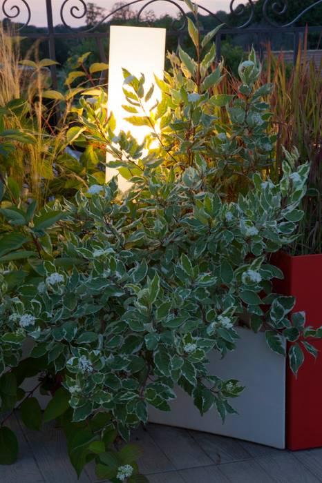 Jardin contemporain sur une terrasse en ville: Jardin de style  par CONCEPTUELLES PAYSAGE ET DECORATION