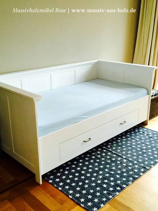 Wandbett mit schubladen in weiß: schlafzimmer von massiv aus holz ...