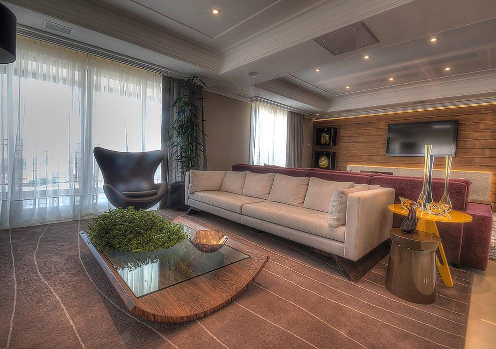 Apartamento Residencial APA Salas de estar modernas por Pauline Kubiak Arquitetura Moderno Madeira maciça Multi colorido