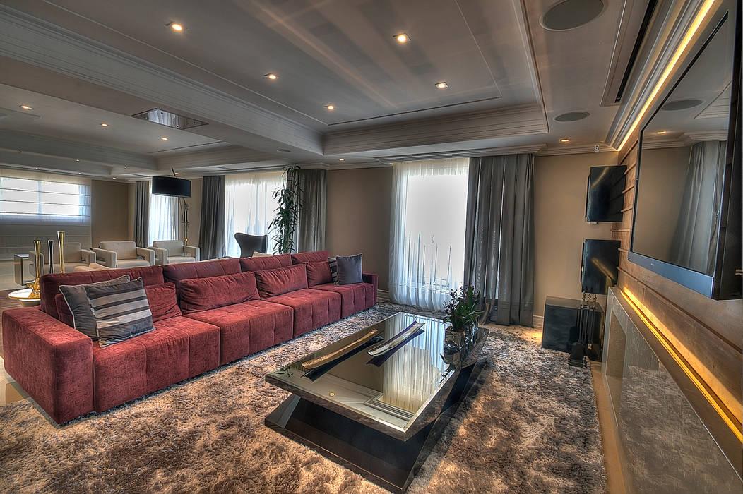 Living Salas de estar modernas por Pauline Kubiak Arquitetura Moderno Madeira maciça Multi colorido
