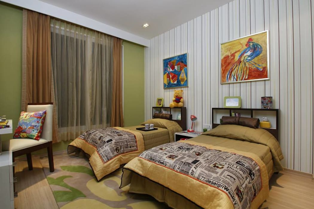 Twin bed- colourful kids room:  Nursery/kid's room by Tanish Dzignz,