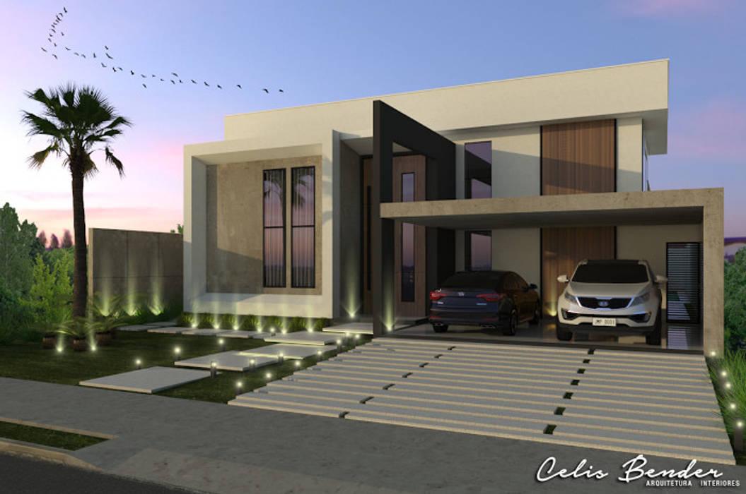 Fachada Frontal Casas modernas por Celis Bender Arquitetura e Interiores Moderno Concreto