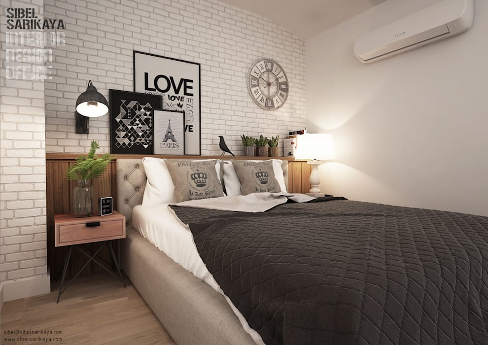 Industrial style bedroom by SIBEL SARIKAYA INTERIOR DESIGN OFFICE Industrial