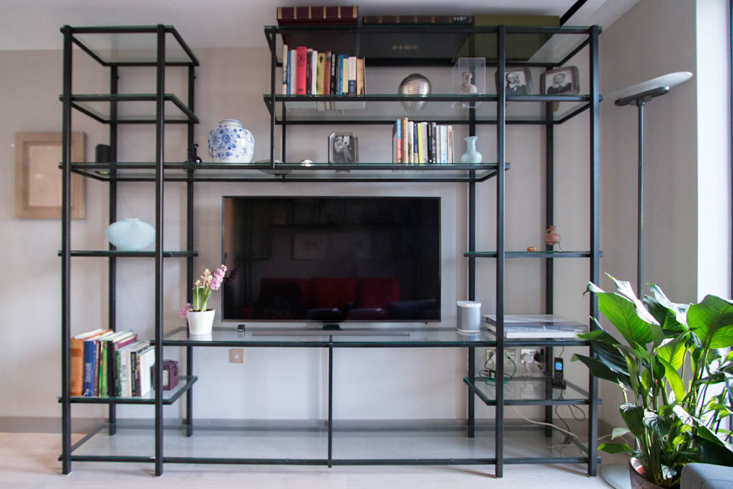 Glass and metal shelving unit modern living room by railing ...