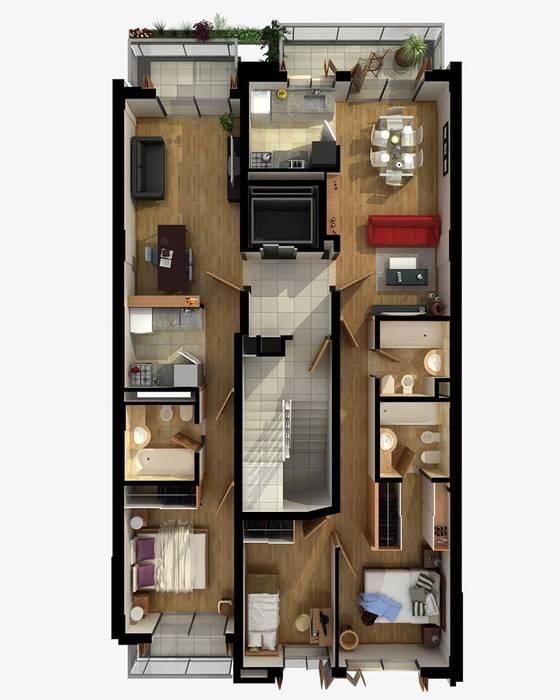 Planta Tipo: Edificios de Oficinas de estilo  por Estudio Feldman - Arquitectura Sustentable,Moderno