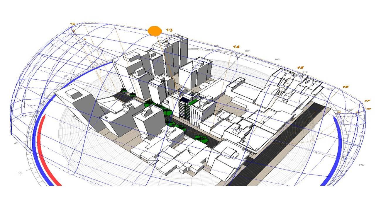 Axonometría del entorno Edificios de oficinas de estilo moderno de Estudio Feldman - Arquitectura Sustentable Moderno