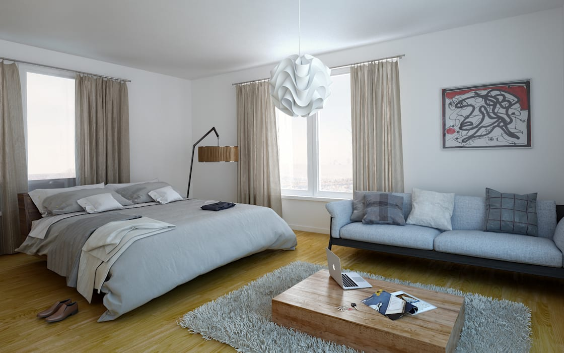 Dormitorios de estilo mediterráneo de 3DYpslon Mediterráneo Madera Acabado en madera