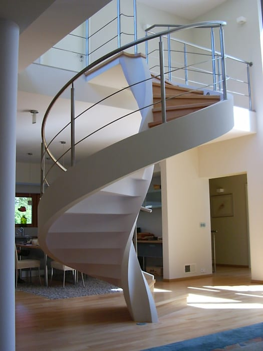 Modern Corridor, Hallway and Staircase by A.P. RUD Schody Modern