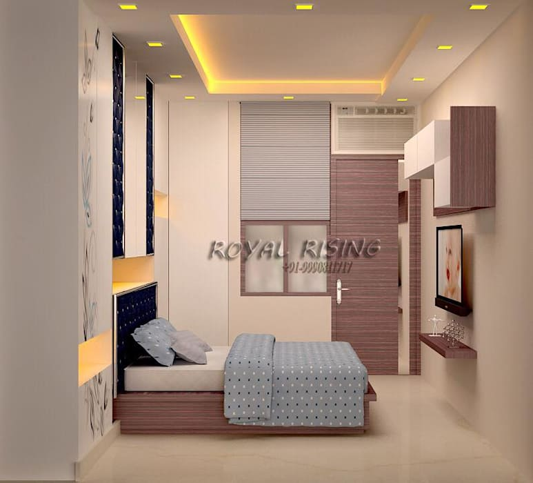 Feel Royal & luxury living in compact & narrow flat space.:  Bedroom by Royal Rising Interiors,