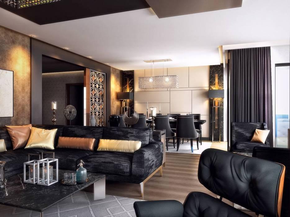 VERO CONCEPT MİMARLIK – Kalafatoğlu Konut:  tarz Oturma Odası, Modern
