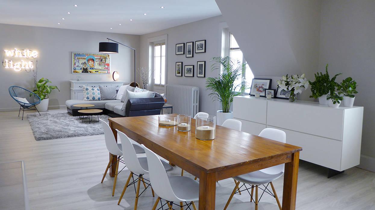 Une pi ce vivre contemporaine et chaleureuse salle - Deco salle a manger contemporaine ...