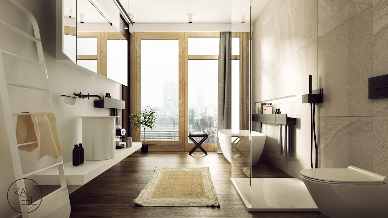 Modern Bathroom by KAEL Architekci Modern Wood Wood effect