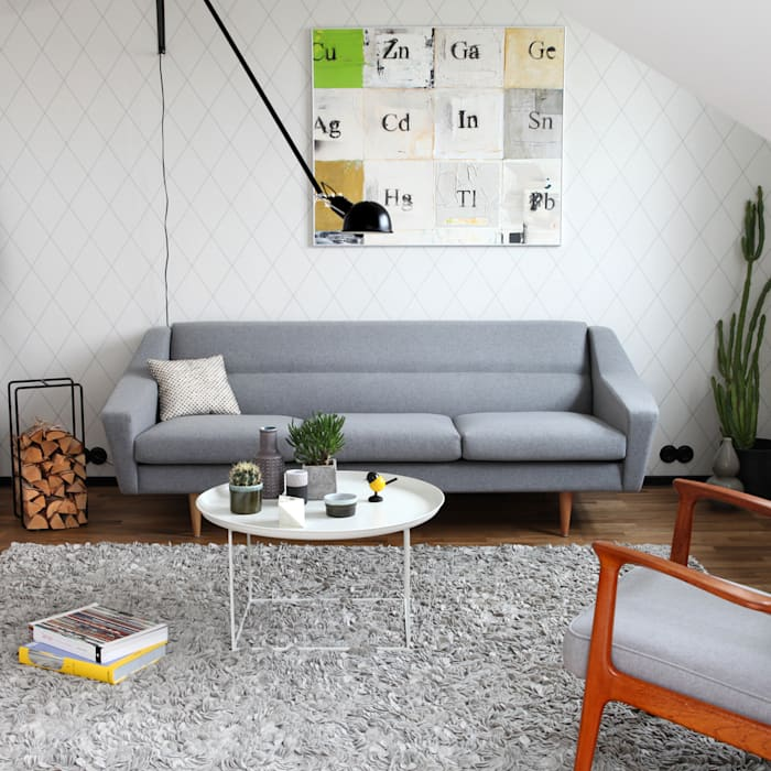 3 Sitzer Sofa Im Retro Look In Grau Wohnzimmer Von Baltic Design