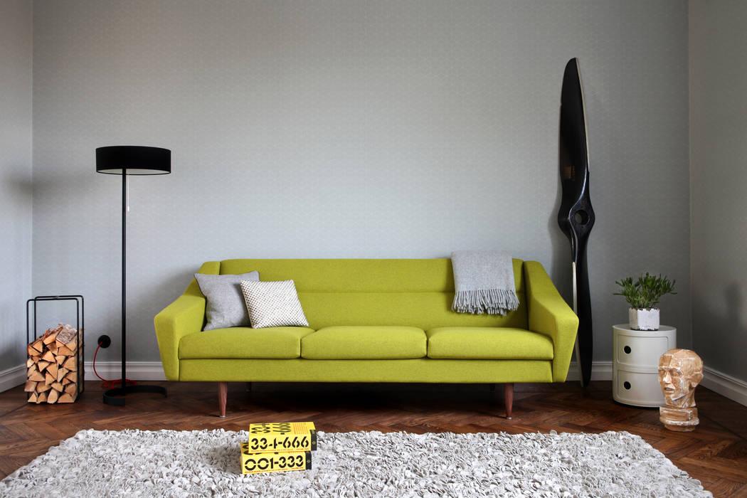 3-sitzer couch im retro-look in gelb: wohnzimmer von baltic design ...