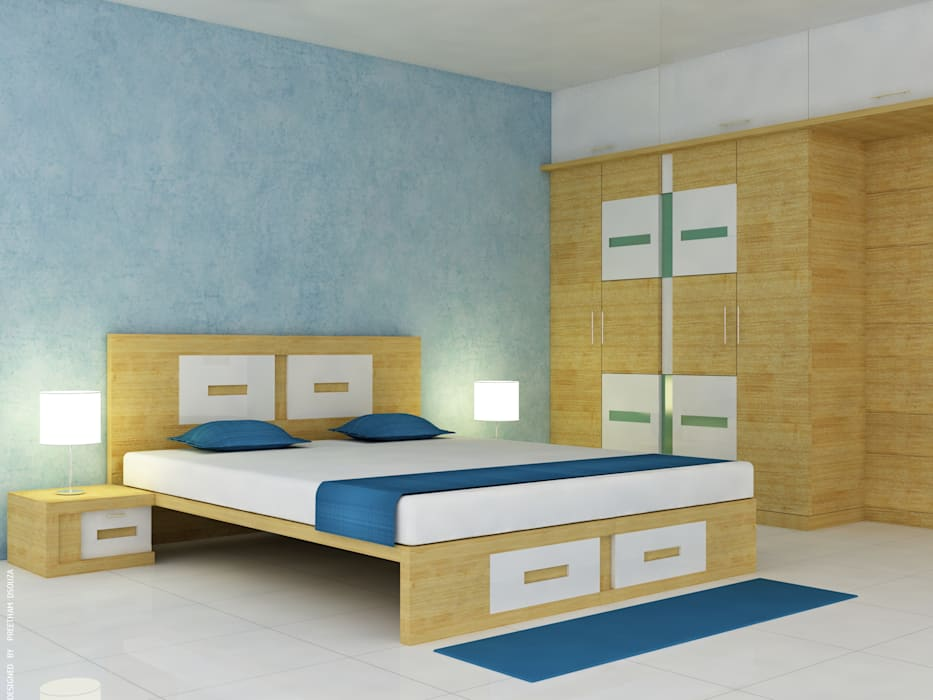 Bedroom interiors -  Classic Pearl: modern Bedroom by Preetham  Interior Designer