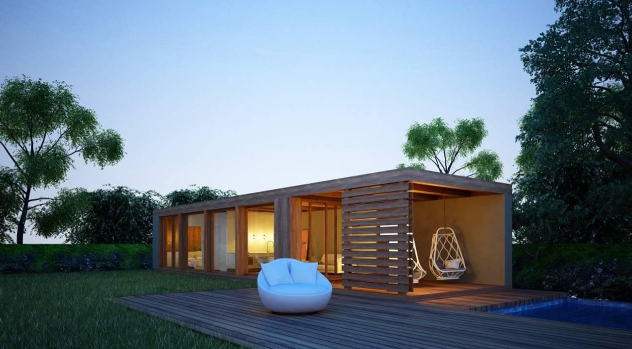 Casa Modular por Maqet Escandinavo Madeira Acabamento em madeira