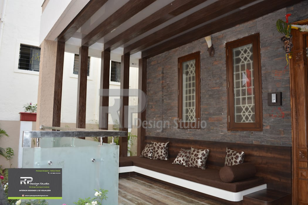 Outdoor Entrance Sitting :  Terrace by RP Design Studio,Modern