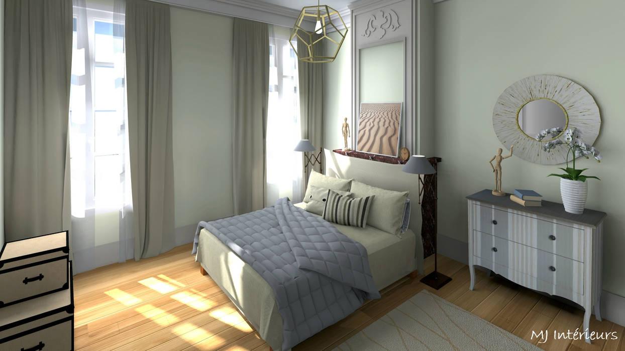 Version 2 : chambre dans la grande pièce (sud): Chambre de style  par MJ Intérieurs