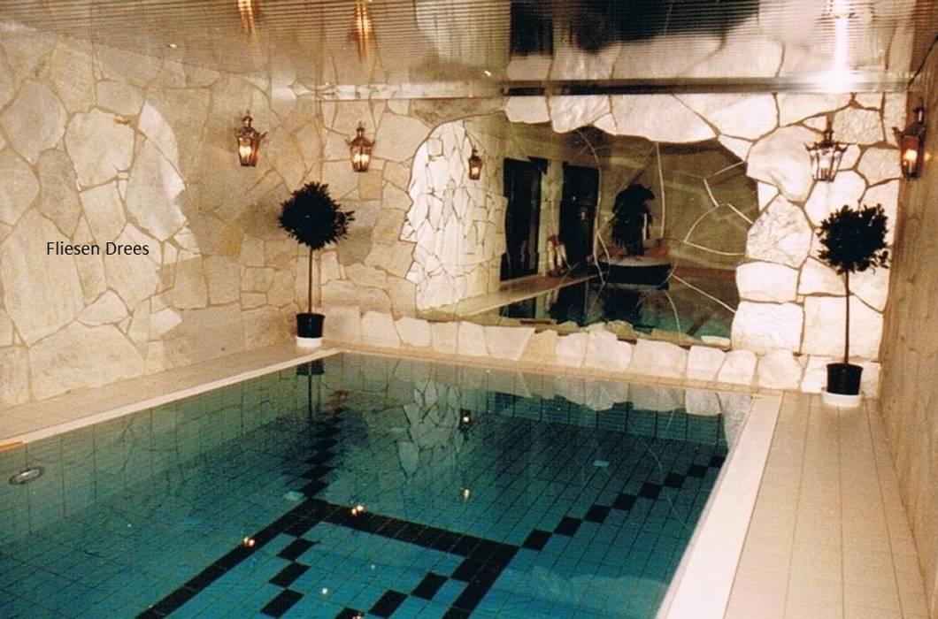 Schwimmbad mit Silberquarzit FD Fliesen GmbH Rustikale Pools Stein