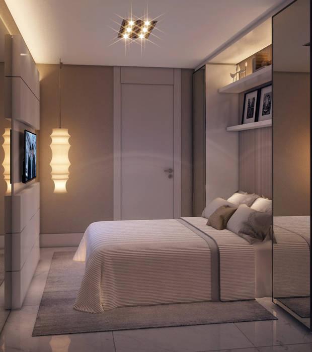 Apartamento em Miami - Château beach Giovanna Castagna Arquitetura Interiores Quartos modernos Vidro Bege