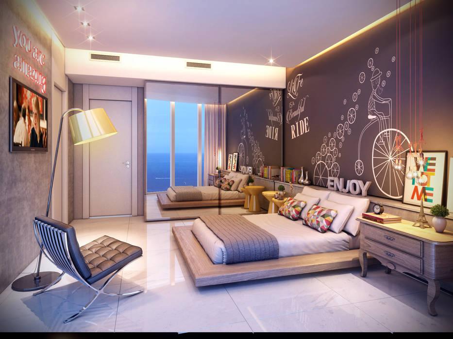 Apartamento em Miami - Château beach Quartos modernos por Giovanna Castagna Arquitetura Interiores Moderno Mármore
