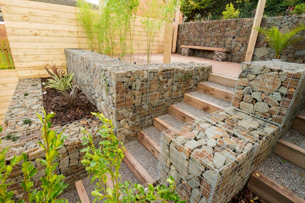 Small garden with a very steep slope: garden by yorkshire gardens