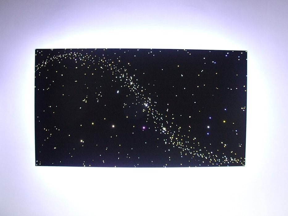Design ideas Fiber optic light LED star lights ceiling panels art stars on ceiling bathroom bedroom kitchen:  Eetkamer door MyCosmos