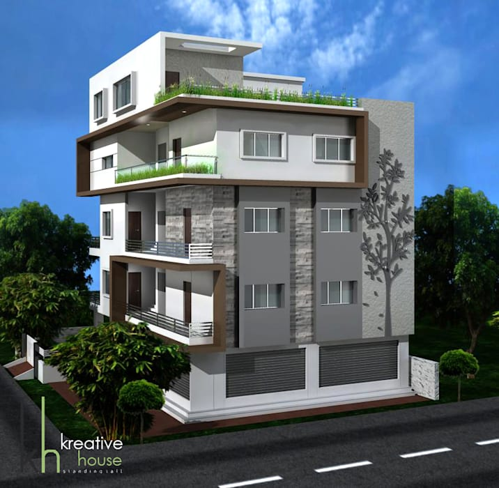 AN INDEPENDENT HOME WITH ELEGANT EXTERIORS (Day View):  Houses by KREATIVE HOUSE