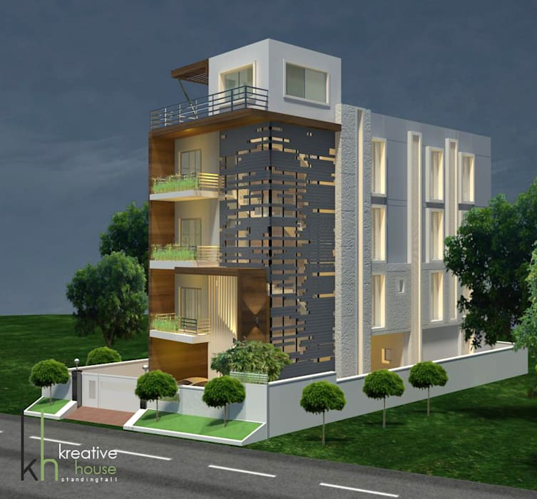 A DREAM HOME FOR AN INDIAN FAMILY (South West View):  Houses by KREATIVE HOUSE