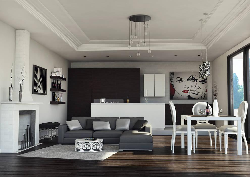 Living room by asf, Modern