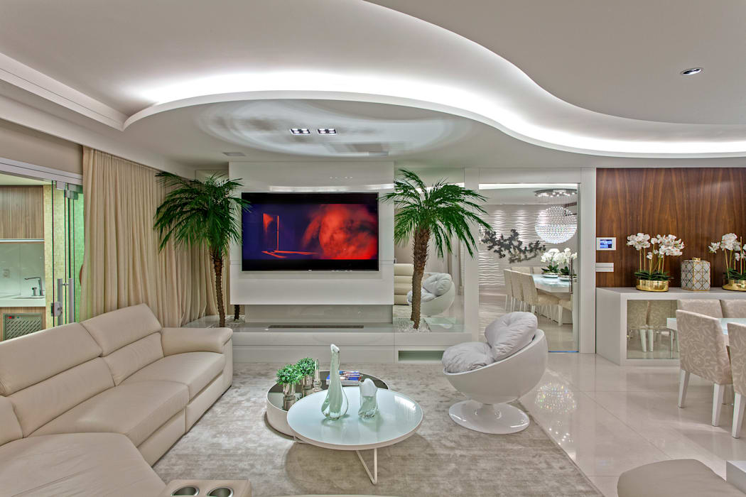 Apartamento São Paulo: Salas de estar  por Designer de Interiores e Paisagista Iara Kílaris,
